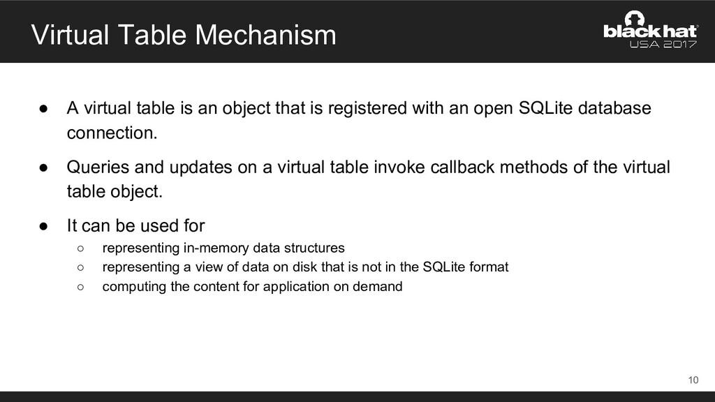Virtual Table Mechanism ● A virtual table is an...