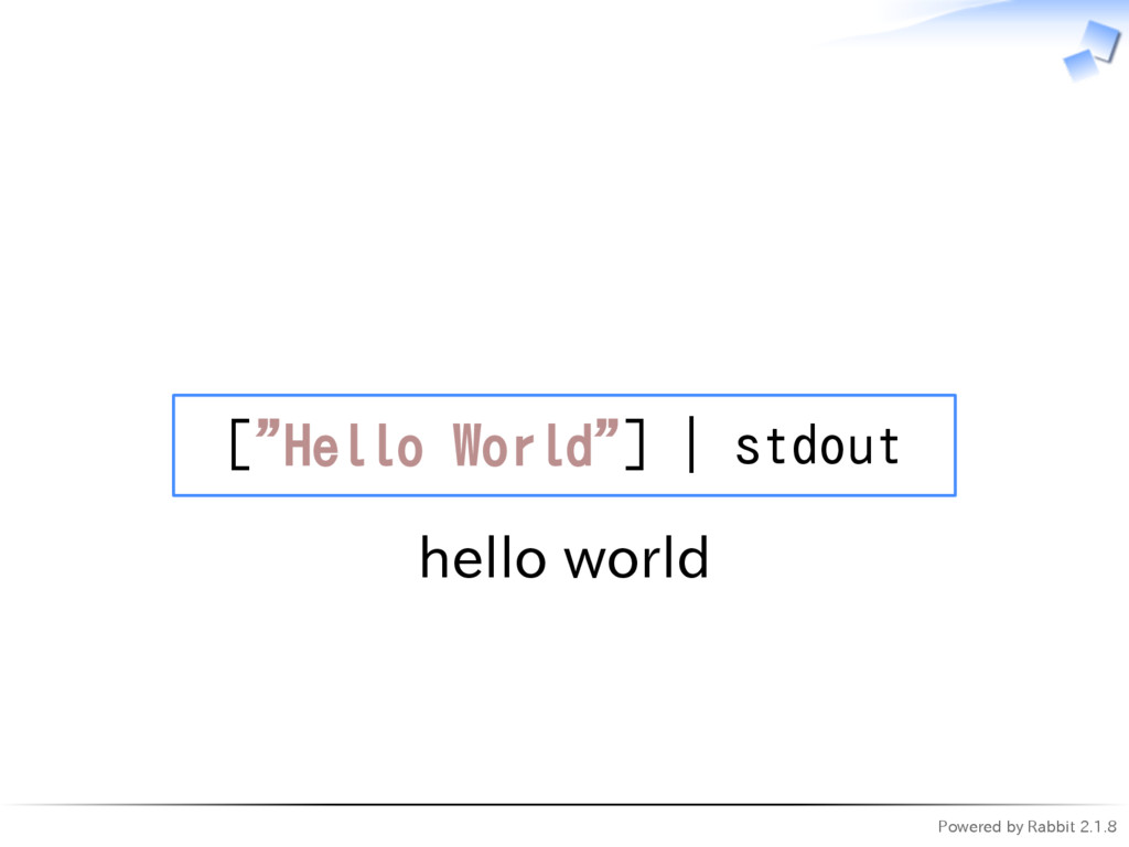 "Powered by Rabbit 2.1.8   [""Hello World""] 