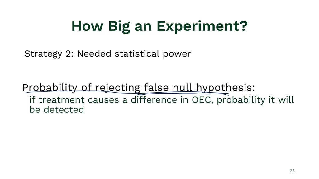 How Big an Experiment? Strategy 2: Needed stati...