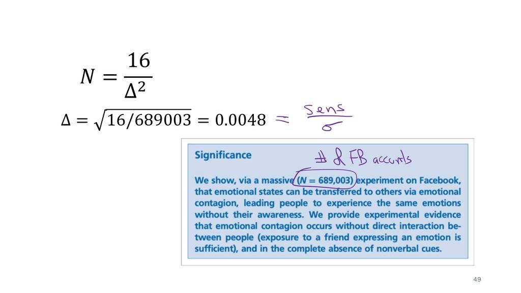 49 ! = 16 Δ& Δ = 16/689003 = 0.0048