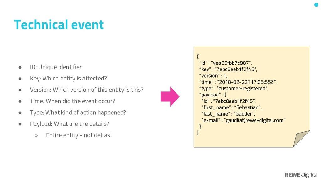 Technical event ● ID: Unique identifier ● Key: ...