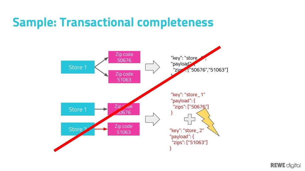 Sample: Transactional completeness Store 1 Zip ...