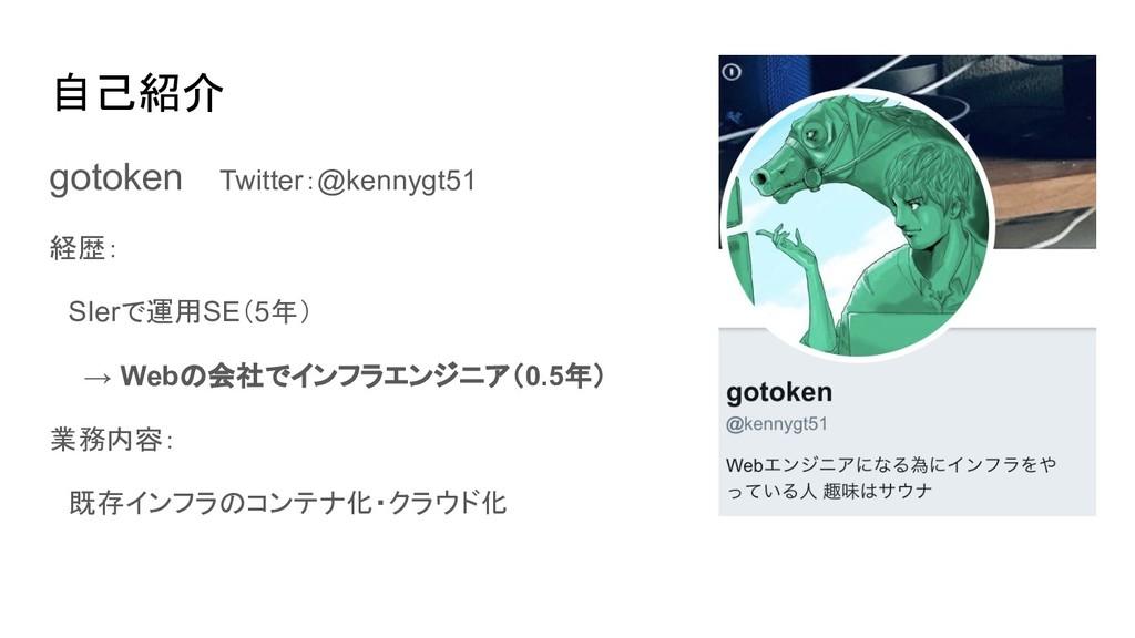 自己紹介 gotoken Twitter:@kennygt51 経歴:  SIerで運用SE(...