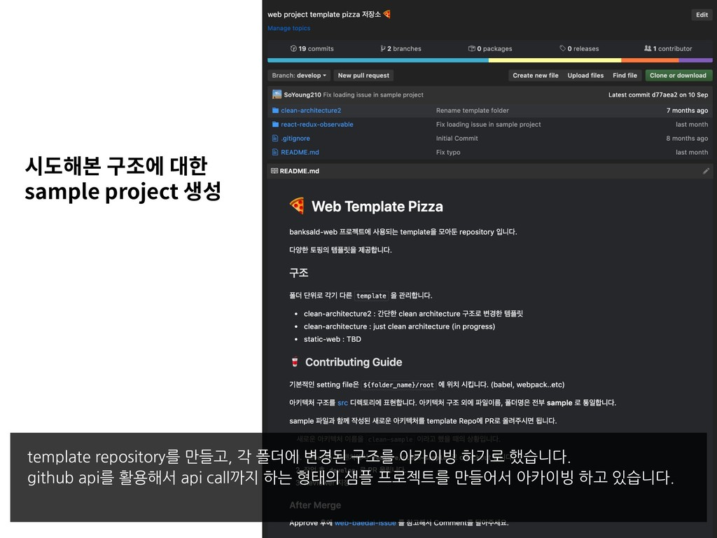sample project template repository를 만들고, 각 폴더에 ...