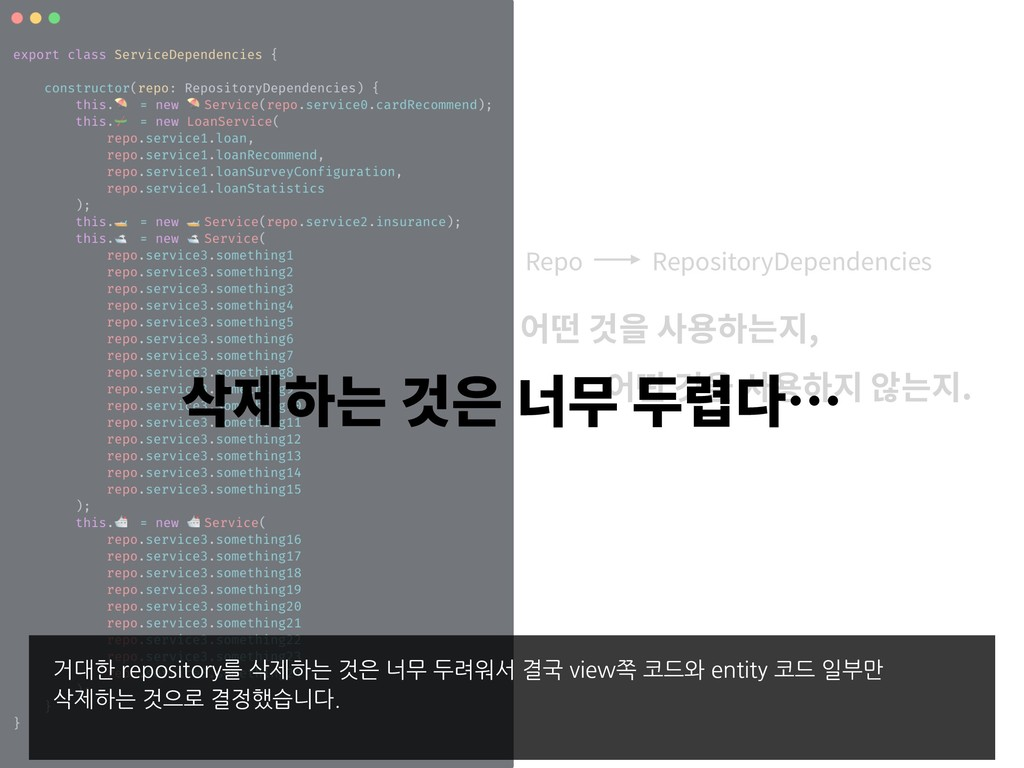 Repo RepositoryDependencies , . 거대한 repository를...