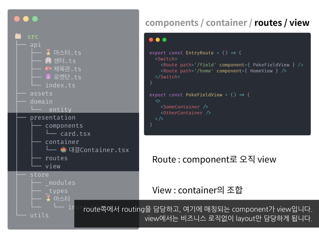 components / container / routes / view Route : ...