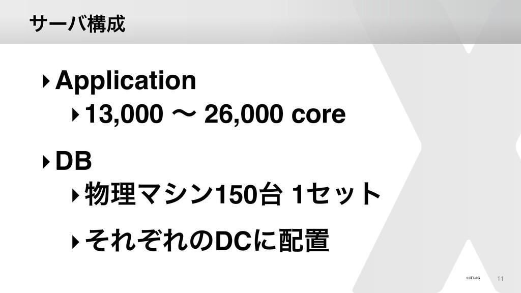 αʔόߏ 11 ‣Application ‣13,000 ʙ 26,000 core ‣DB...