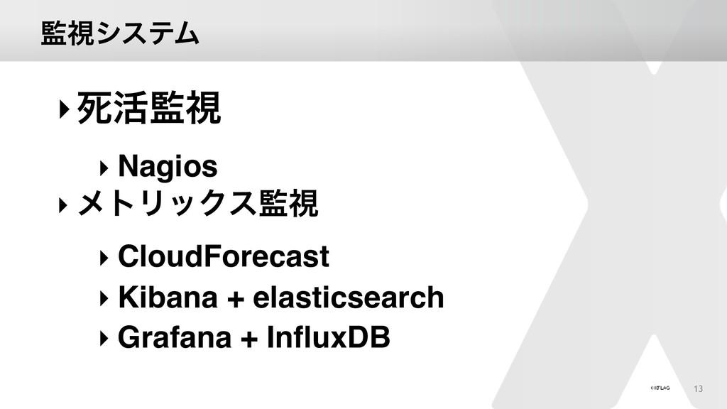 ࢹγεςϜ 13 ‣ࢮ׆ࢹ ‣ Nagios ‣ ϝτϦοΫεࢹ ‣ CloudFore...