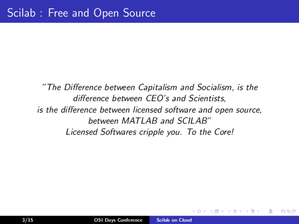 """Scilab : Free and Open Source """"The Difference be..."""