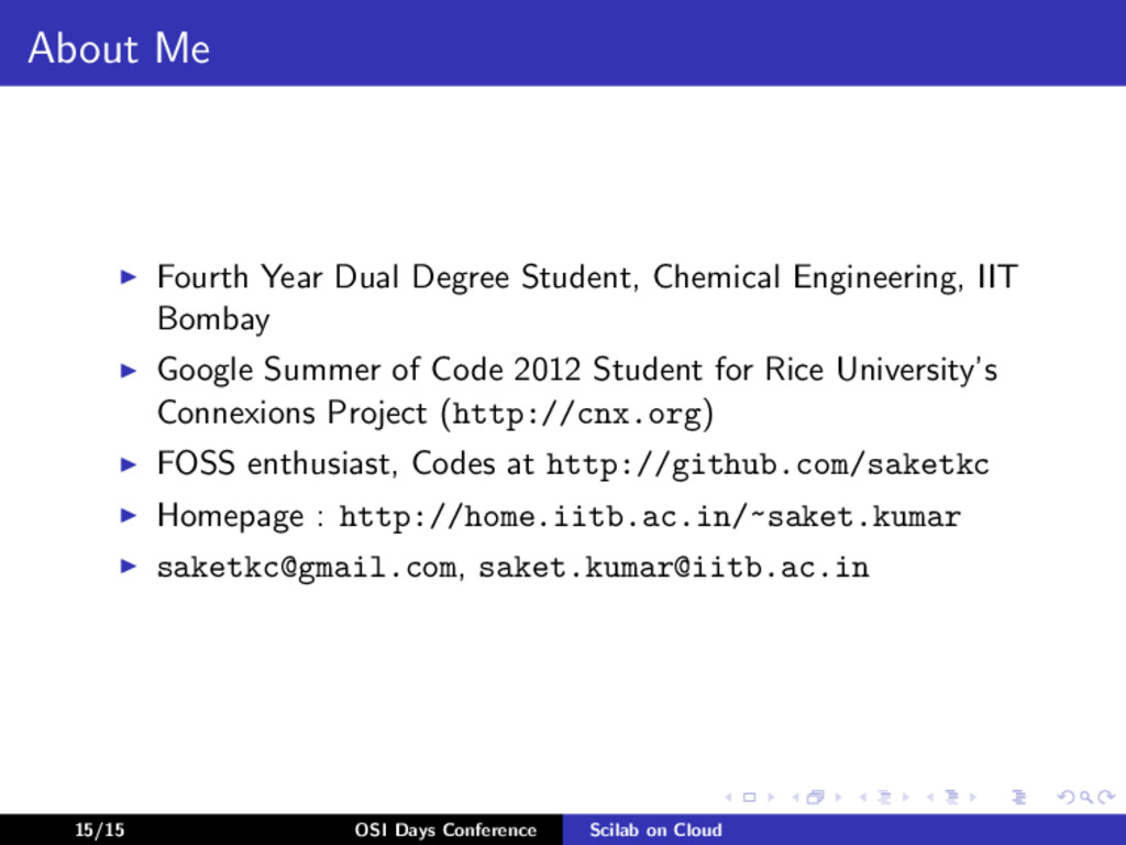 About Me Fourth Year Dual Degree Student, Chemi...