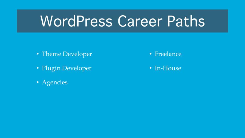 WordPress Career Paths • Theme Developer • Plug...