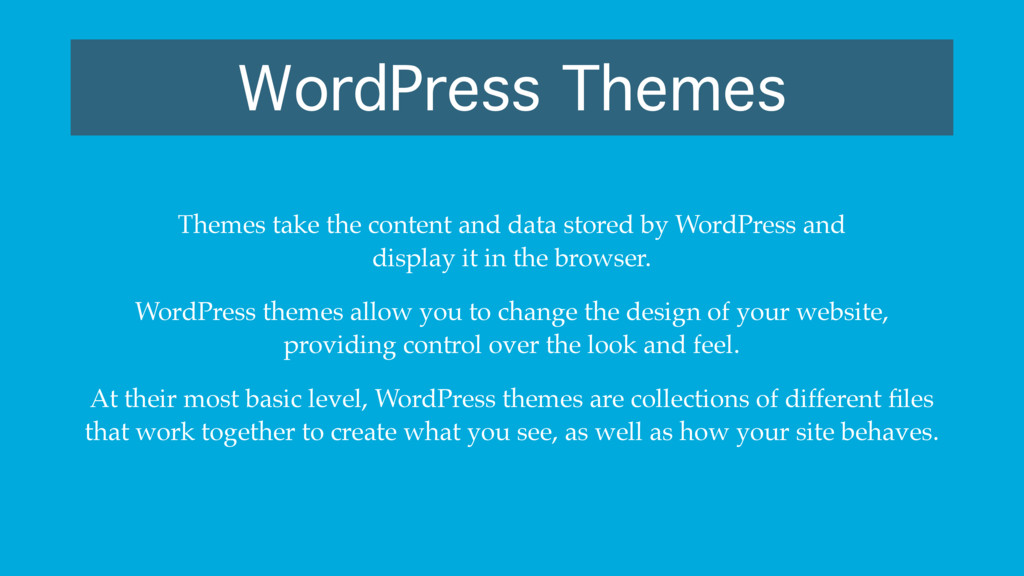 WordPress Themes Themes take the content and da...