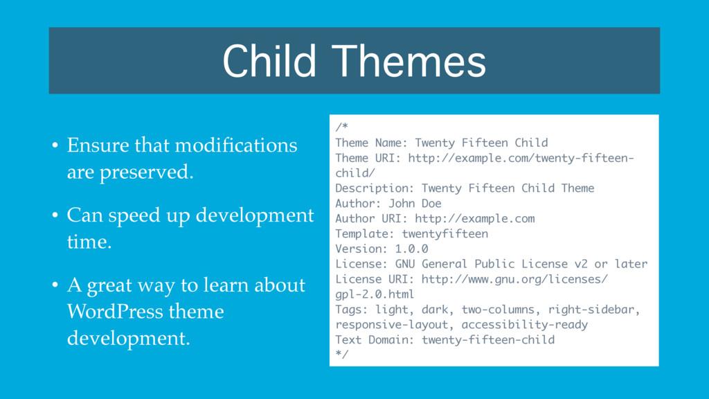 Child Themes /* Theme Name: Twenty Fifteen Chil...
