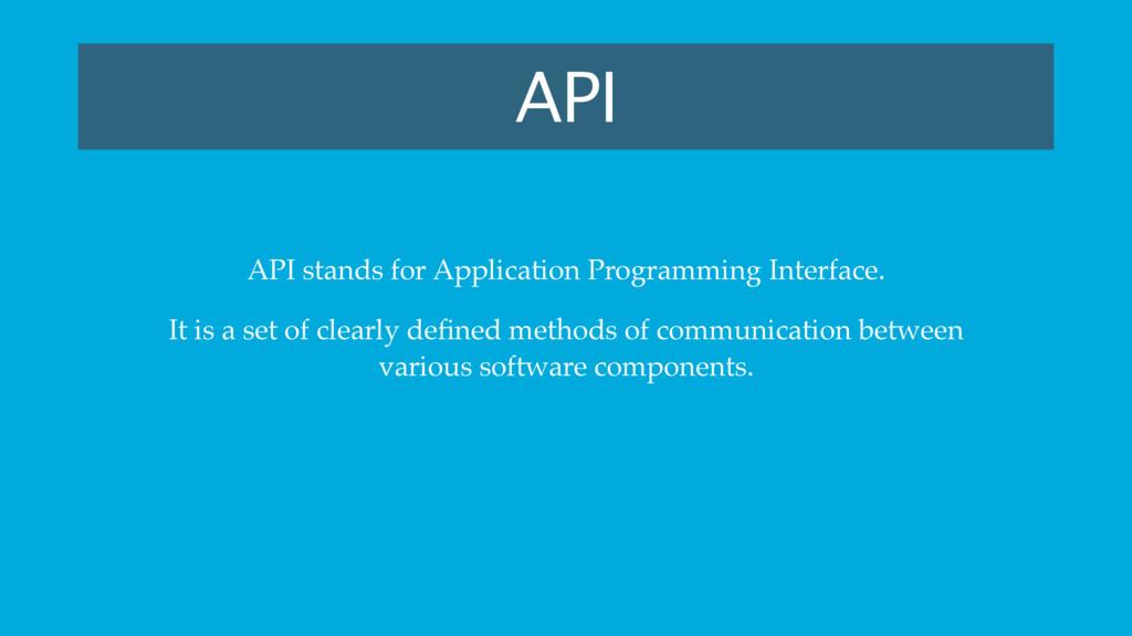 API API stands for Application Programming Inte...