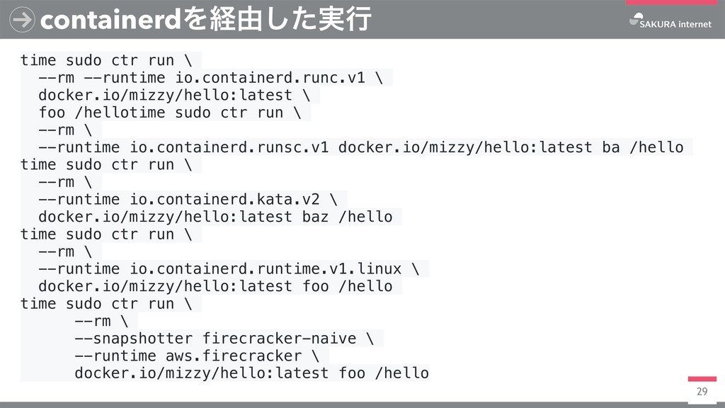 29 containerdΛܦ༝࣮ͨ͠ߦ time sudo ctr run \ --rm -...