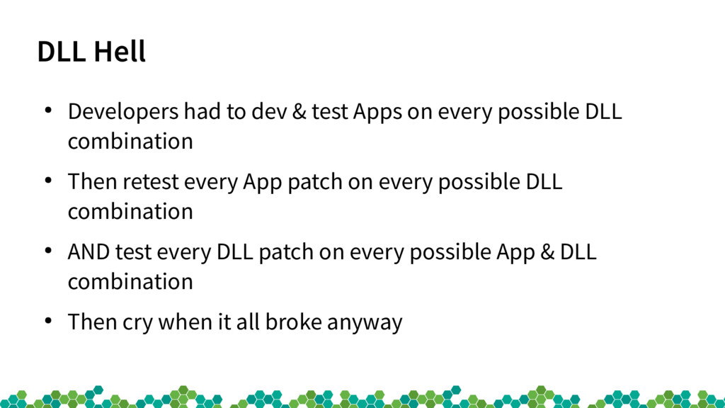 DLL Hell ● Developers had to dev & test Apps on...