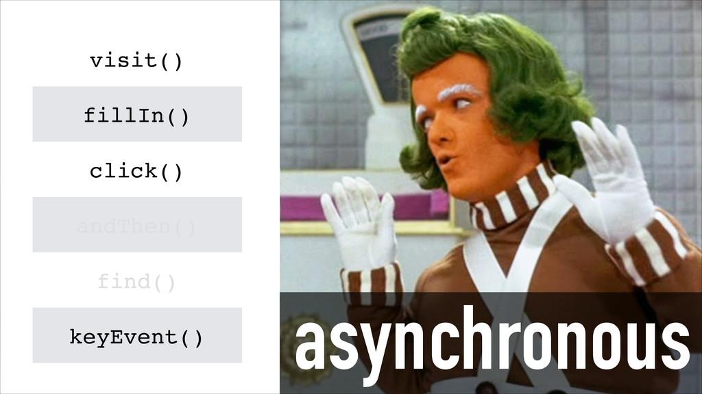 asynchronous visit() fillIn() click() andThen()...