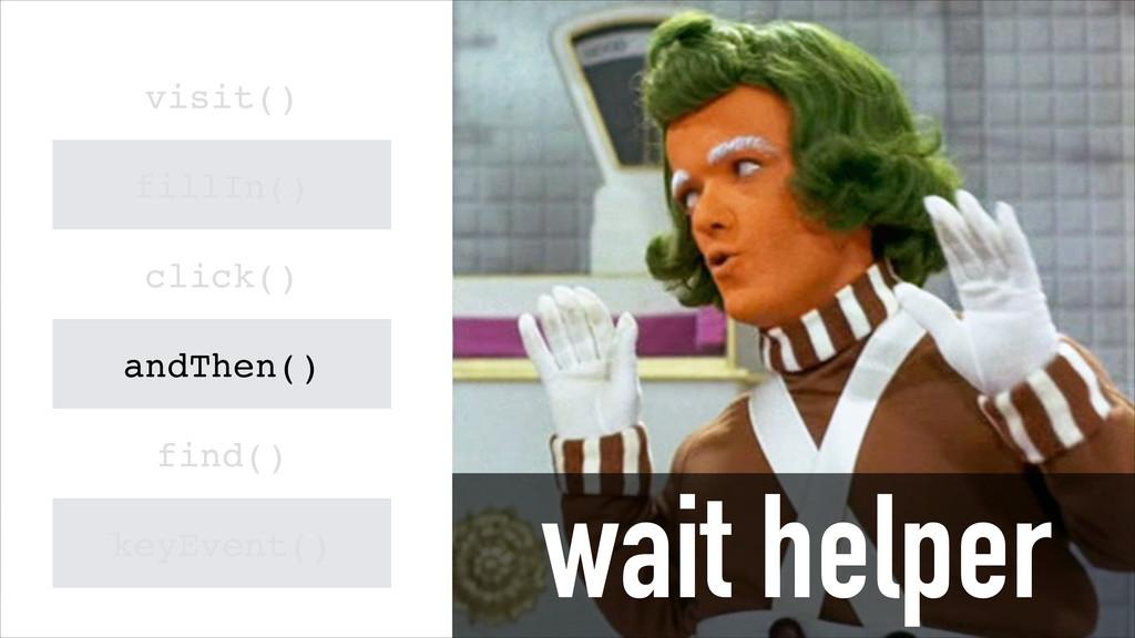wait helper visit() fillIn() click() andThen() ...