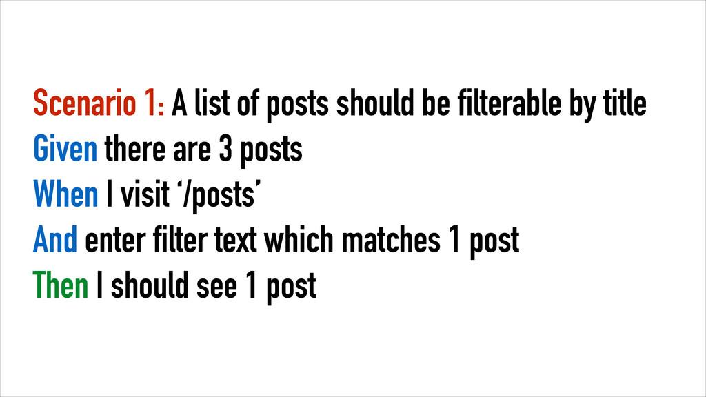 Scenario 1: A list of posts should be filterabl...