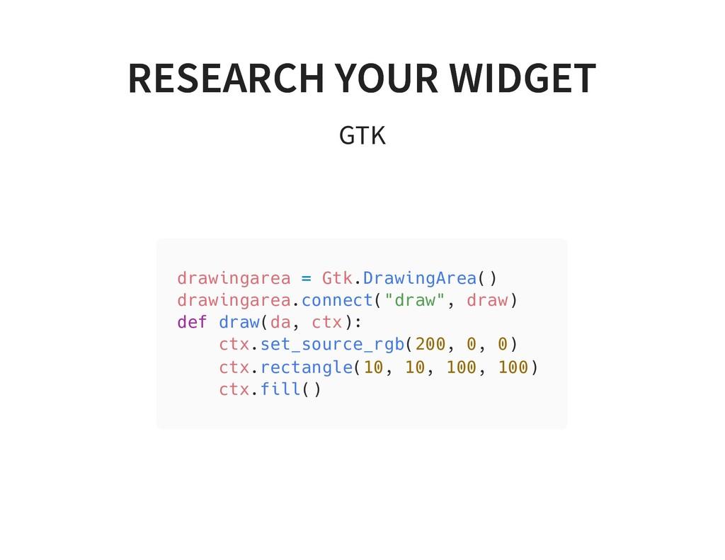 RESEARCH YOUR WIDGET RESEARCH YOUR WIDGET GTK d...