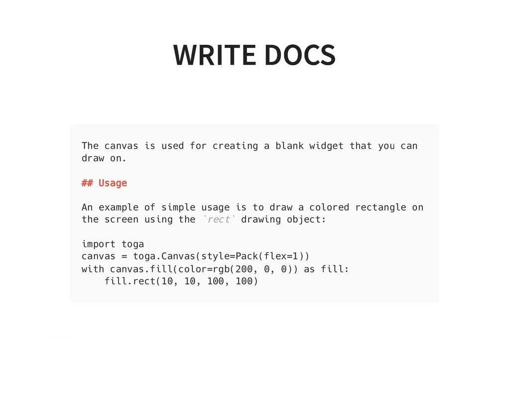 WRITE DOCS WRITE DOCS The canvas is used for cr...