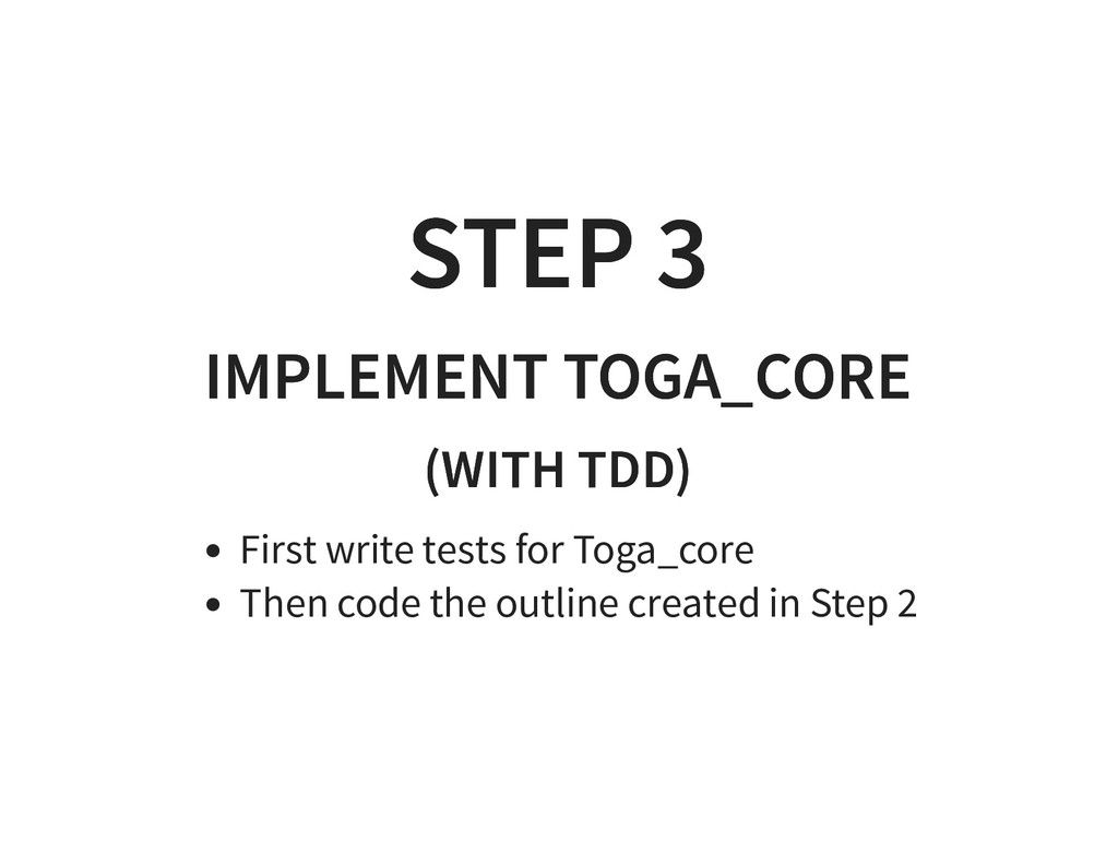 STEP 3 STEP 3 IMPLEMENT TOGA_CORE IMPLEMENT TOG...