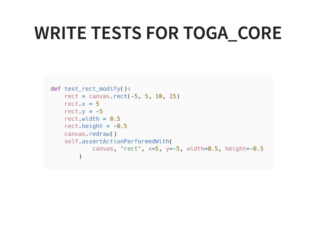 WRITE TESTS FOR TOGA_CORE WRITE TESTS FOR TOGA_...