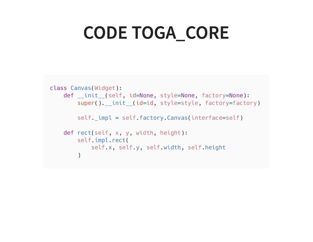 CODE TOGA_CORE CODE TOGA_CORE class Canvas(Widg...