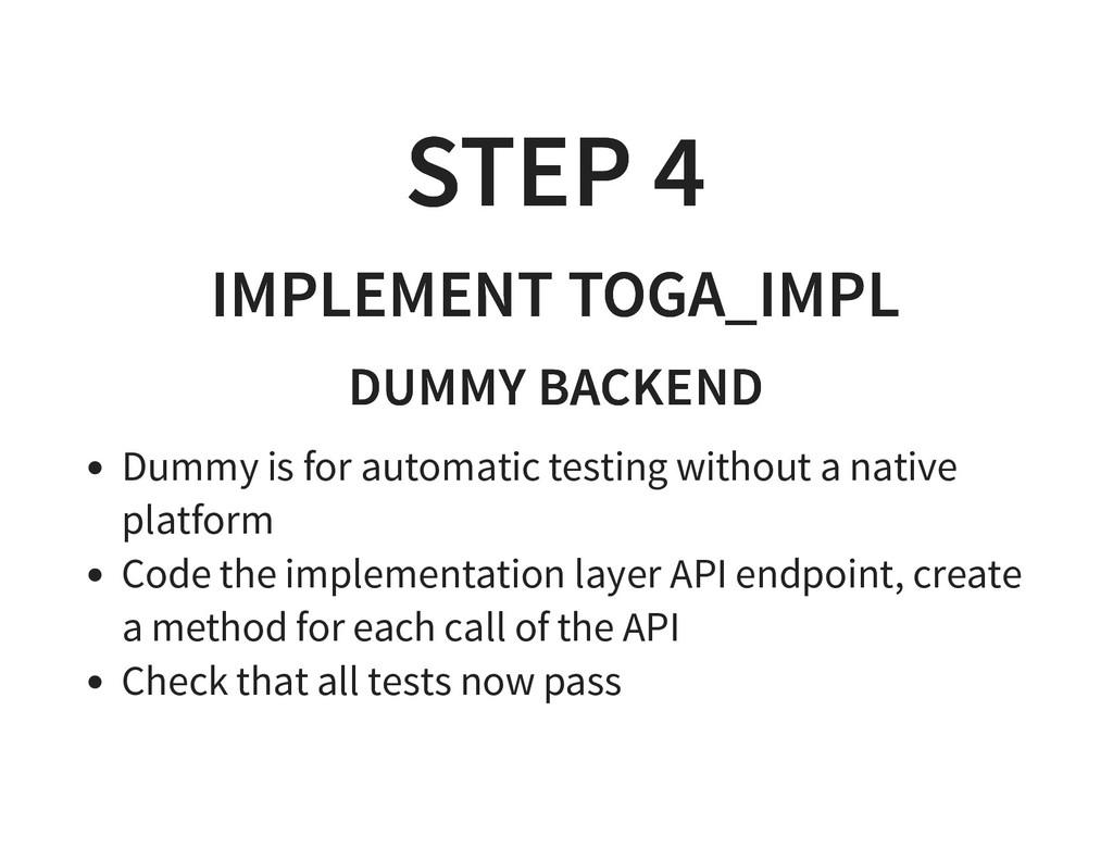 STEP 4 STEP 4 IMPLEMENT TOGA_IMPL IMPLEMENT TOG...