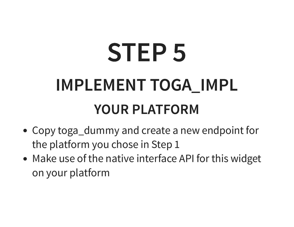 STEP 5 STEP 5 IMPLEMENT TOGA_IMPL IMPLEMENT TOG...