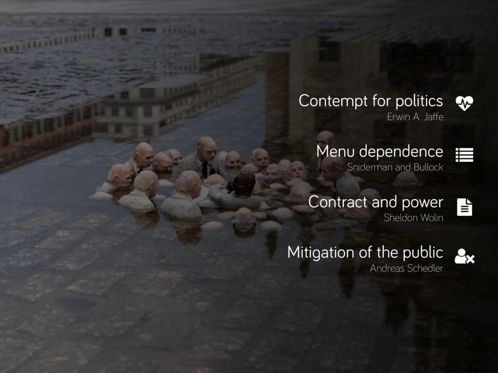 Contempt for politics Erwin A. Jaffe Menu depen...