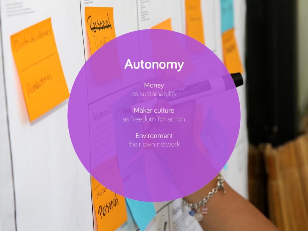 Autonomy Money as sustainability Maker culture ...