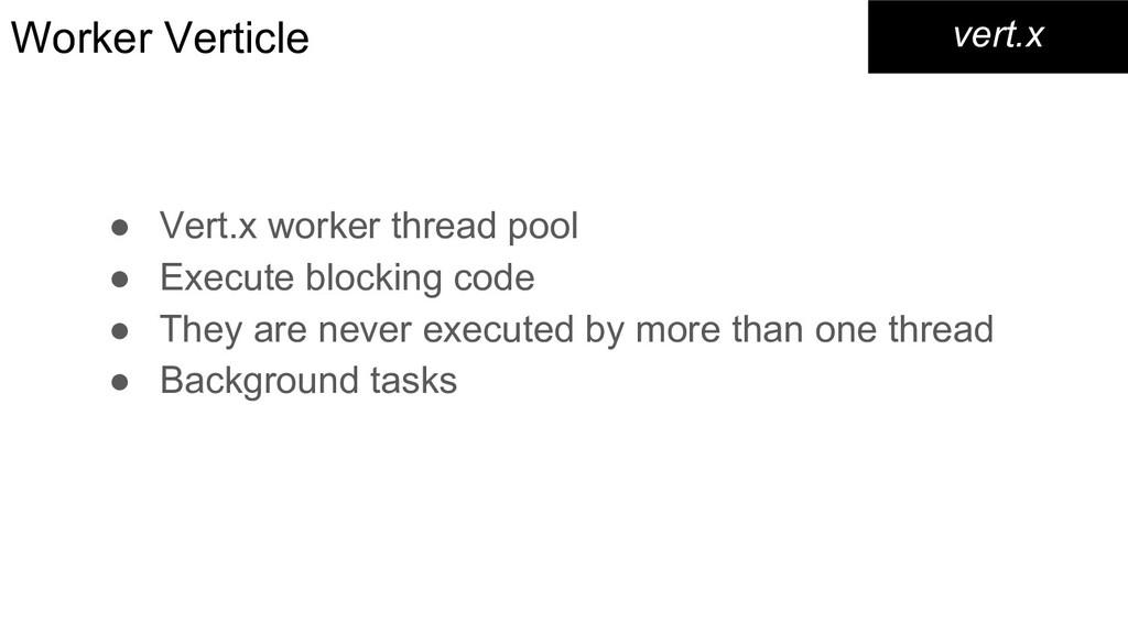Worker Verticle ● Vert.x worker thread pool ● E...