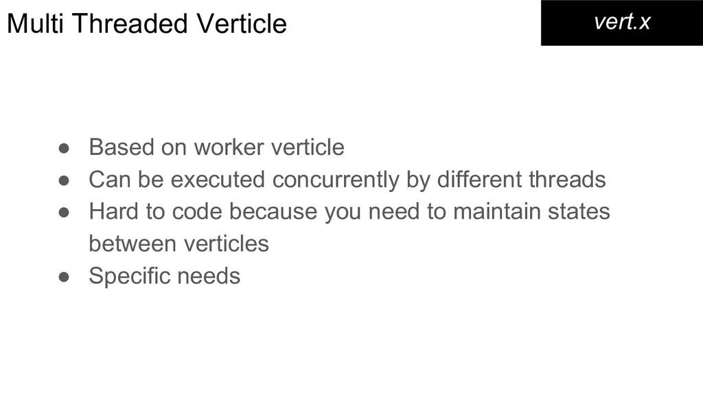 Multi Threaded Verticle ● Based on worker verti...