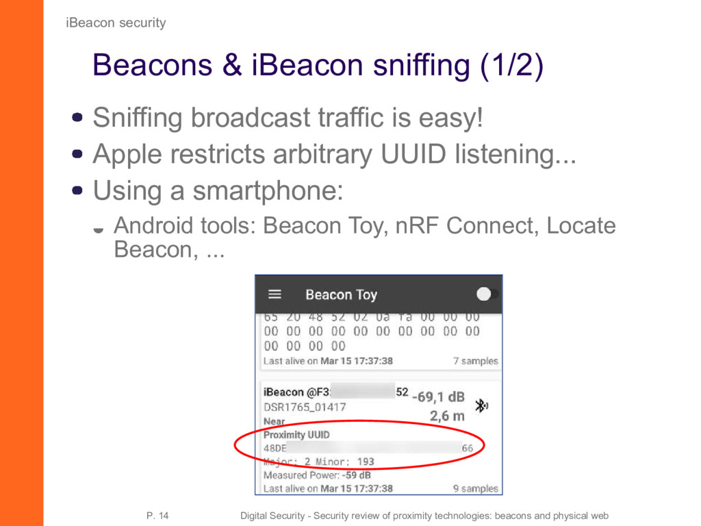 Beacons & iBeacon sniffing (1/2) Sniffing broad...