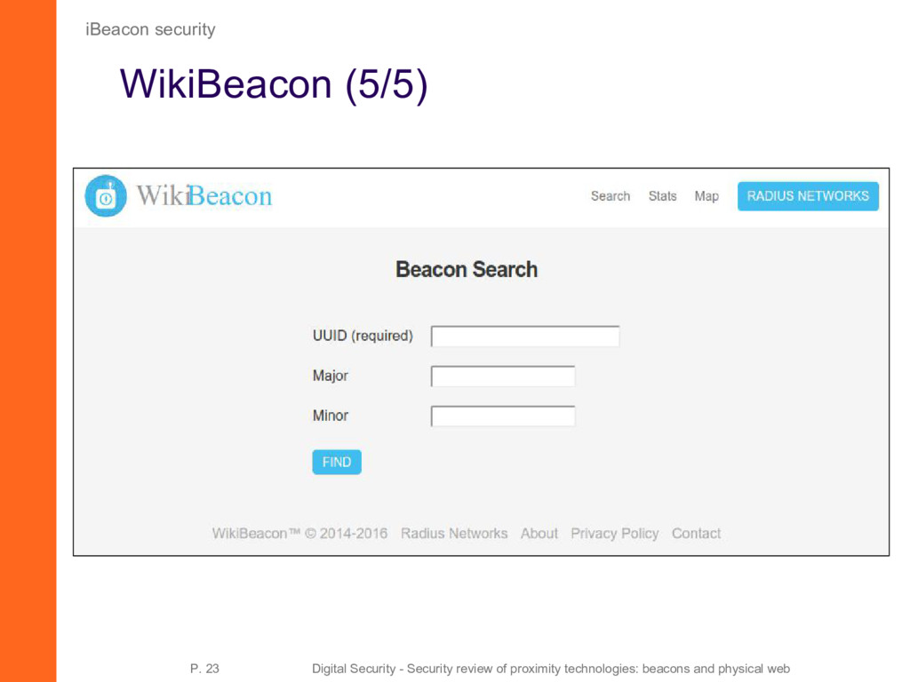 WikiBeacon (5/5) iBeacon security P. 23 Digital...