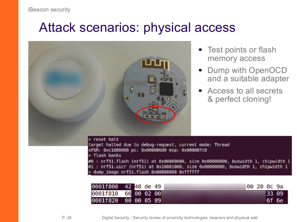 Attack scenarios: physical access iBeacon secur...