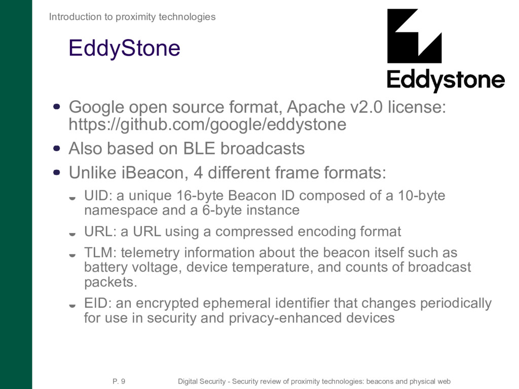 EddyStone Google open source format, Apache v2....