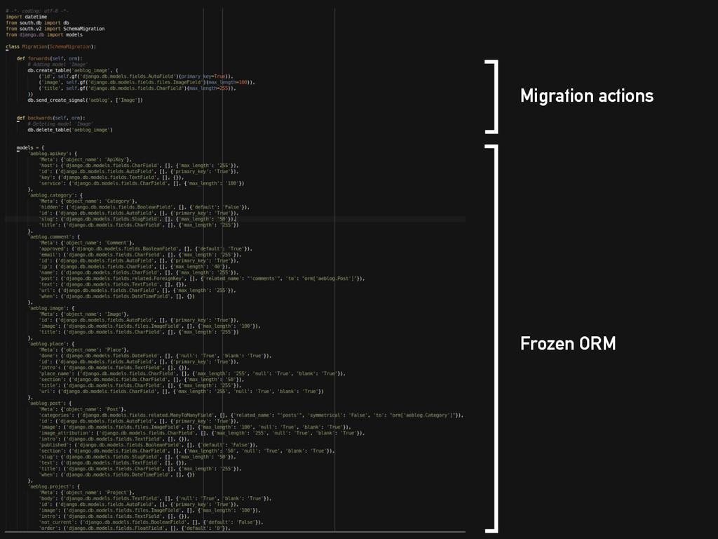 Migration actions Frozen ORM