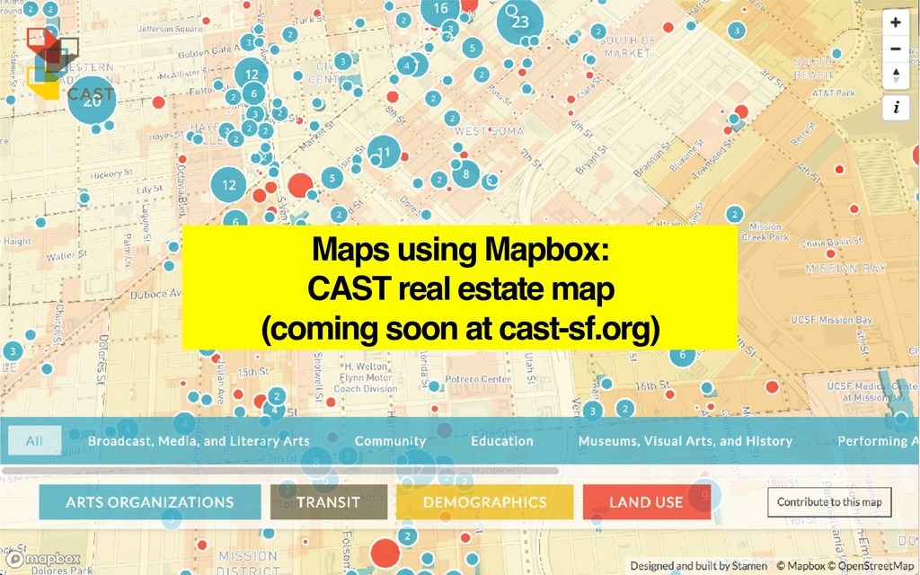 Maps using Mapbox: CAST real estate map (coming...