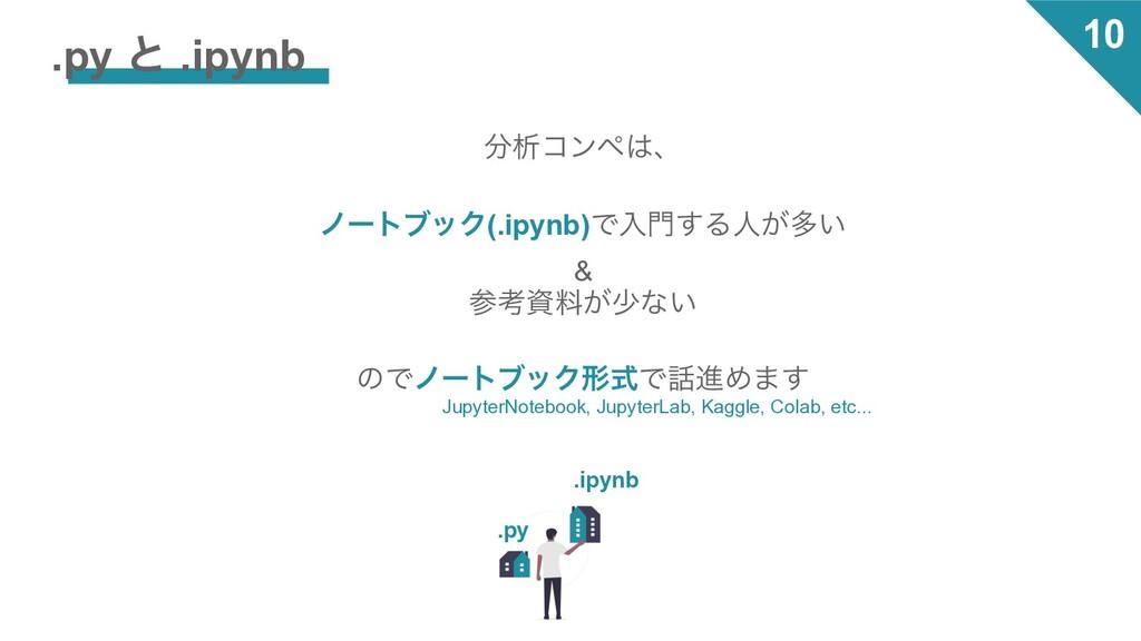 10 .py ͱ .ipynb ੳίϯϖɺ ϊʔτϒοΫ(.ipynb)Ͱೖ͢Δਓ͕ଟ͍...