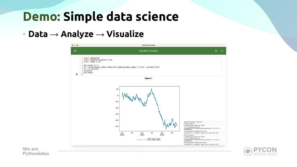 Demo: Simple data science • Data → Analyze → Vi...