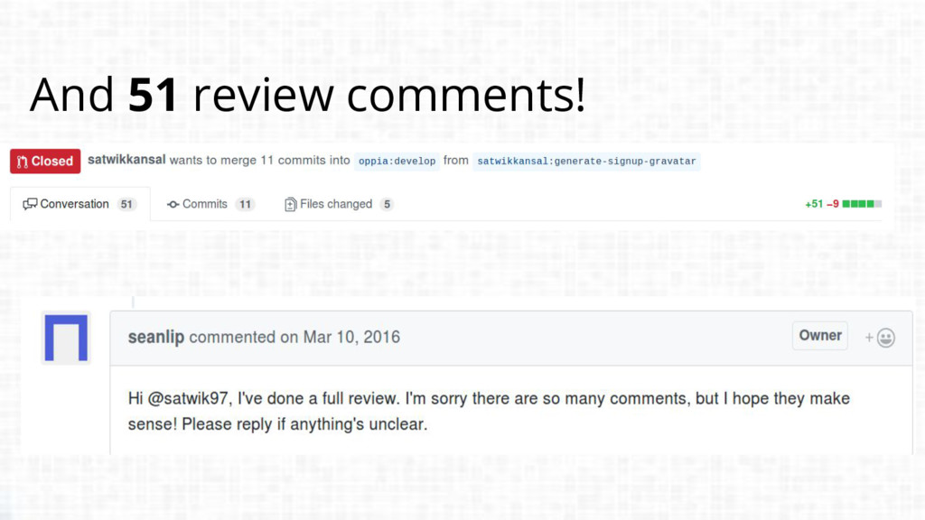And 51 review comments!