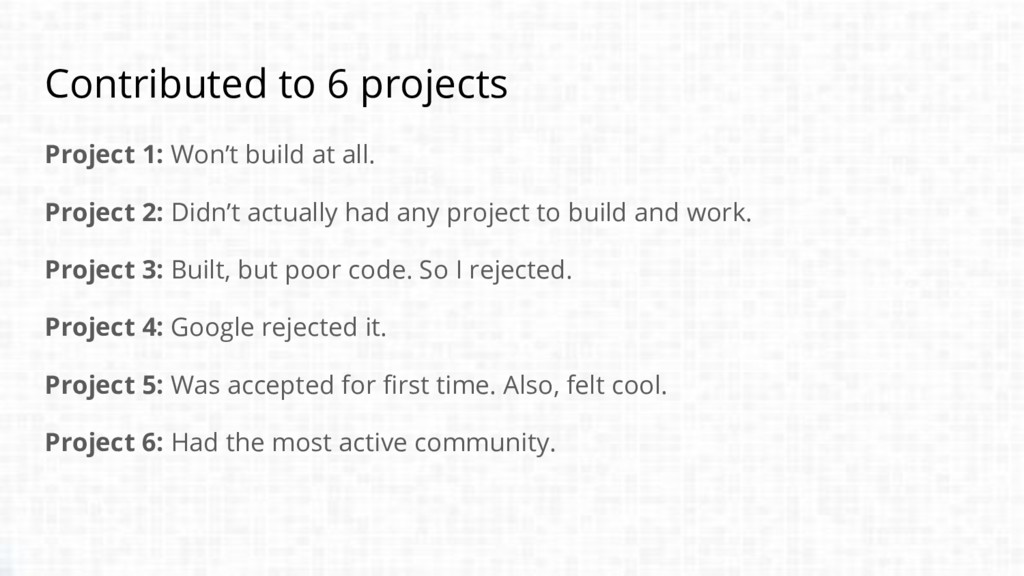 Contributed to 6 projects Project 1: Won't buil...