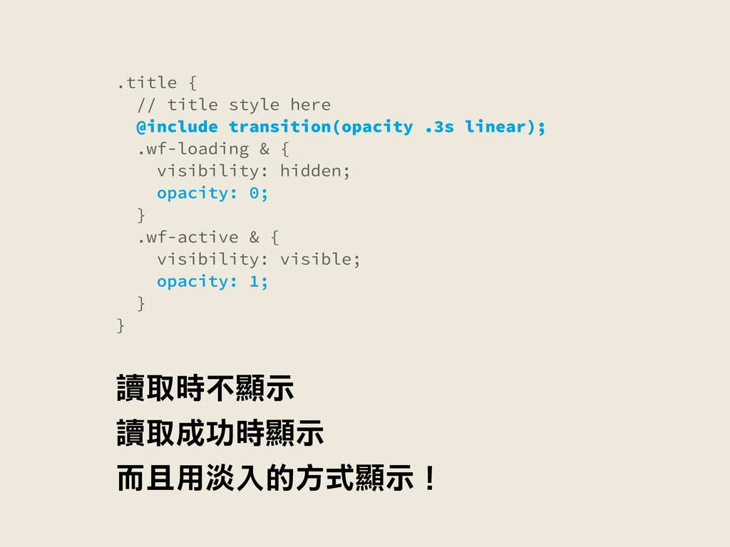 .title { // title style here @include transitio...