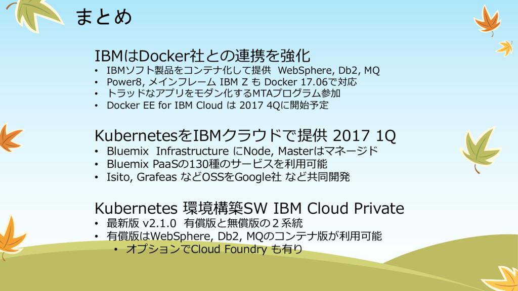 まとめ IBMはDocker社との連携を強化 • IBMソフト製品をコンテナ化して提供 We...