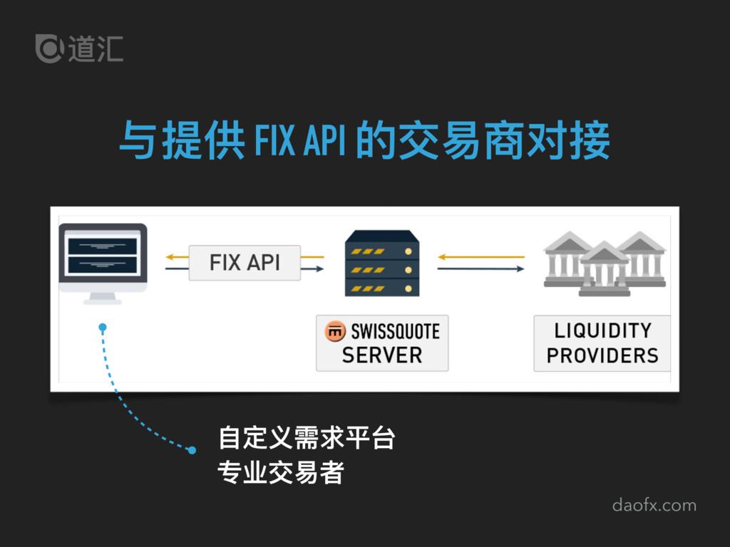 daofx.com 与提供 FIX API 的交易易商对接 ⾃自定义需求平台 专业交易易者