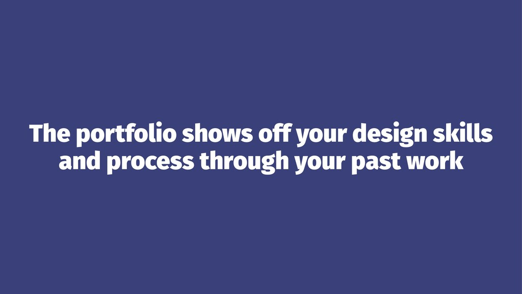 The portfolio shows off your design skills and ...