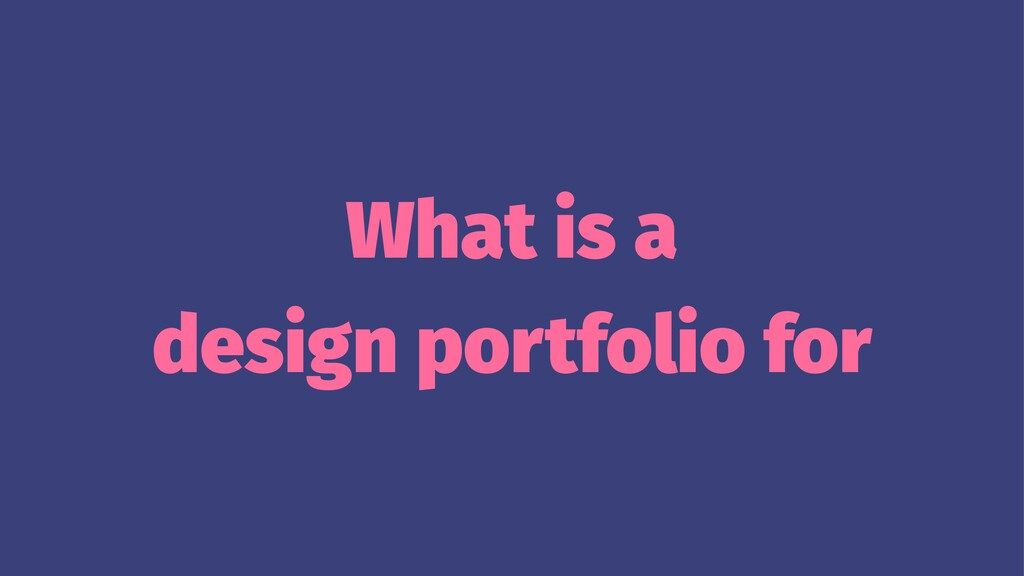 What is a design portfolio for