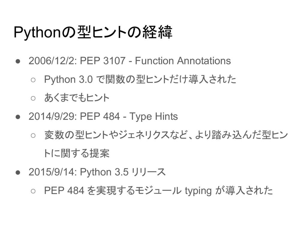 Pythonの型ヒントの経緯 ● 2006/12/2: PEP 3107 - Function...